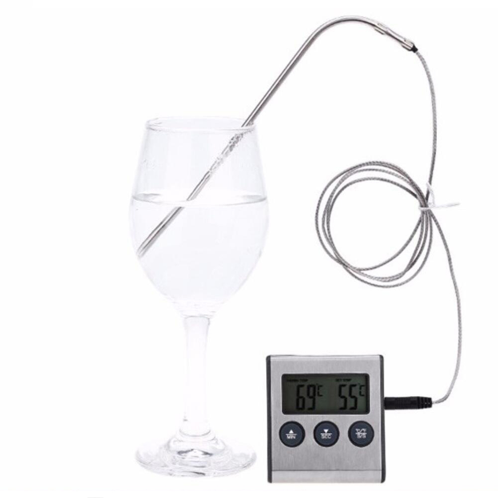 Digital Oven Thermometer Kitchen Food Cooking Grilling Meat BBQ Thermometer and Timer Water Milk Wine Liquid Temperature Probe 5