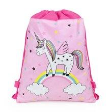 Единорог шнурок мешок двойной веревки мультфильм водонепроницаемый шнурок сумка рюкзак для молодых женщин сумка для хранения