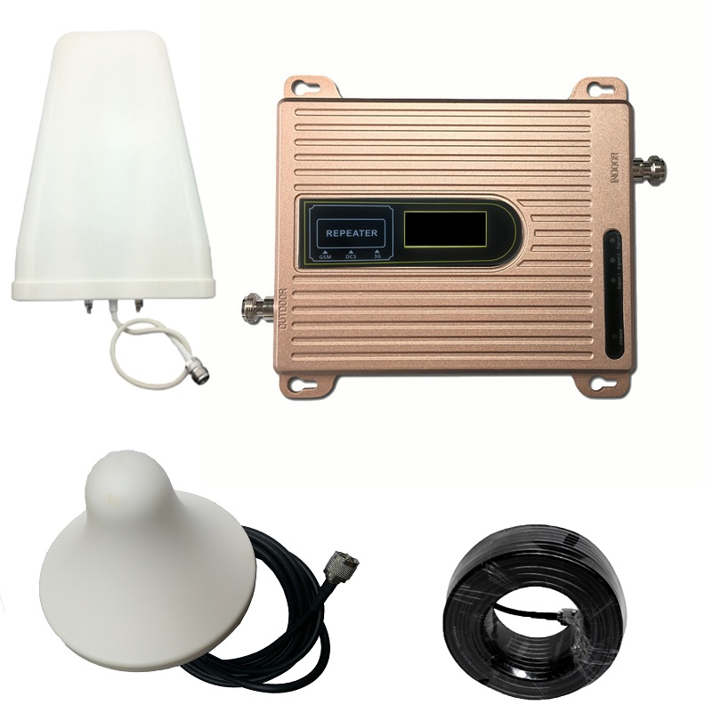 2G 3G 4G Triple Band Signal Booster GSM 900 DCS 1800 FDD LTE 2600 Mobile Phone Signal Repeater Cell Phone Cellular Amplifier
