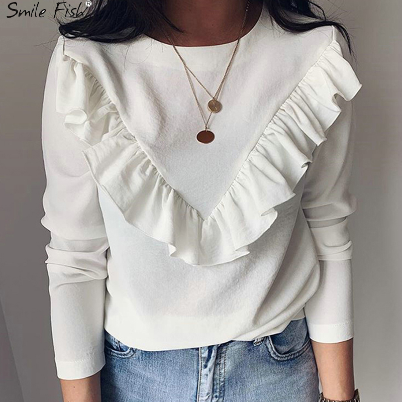 Lady Office Work Ruffles O-Neck Khaki Shirts Women Blouses Autumn Winter Blusas 2019 Tops White Black Long Sleeve Elegant GV948