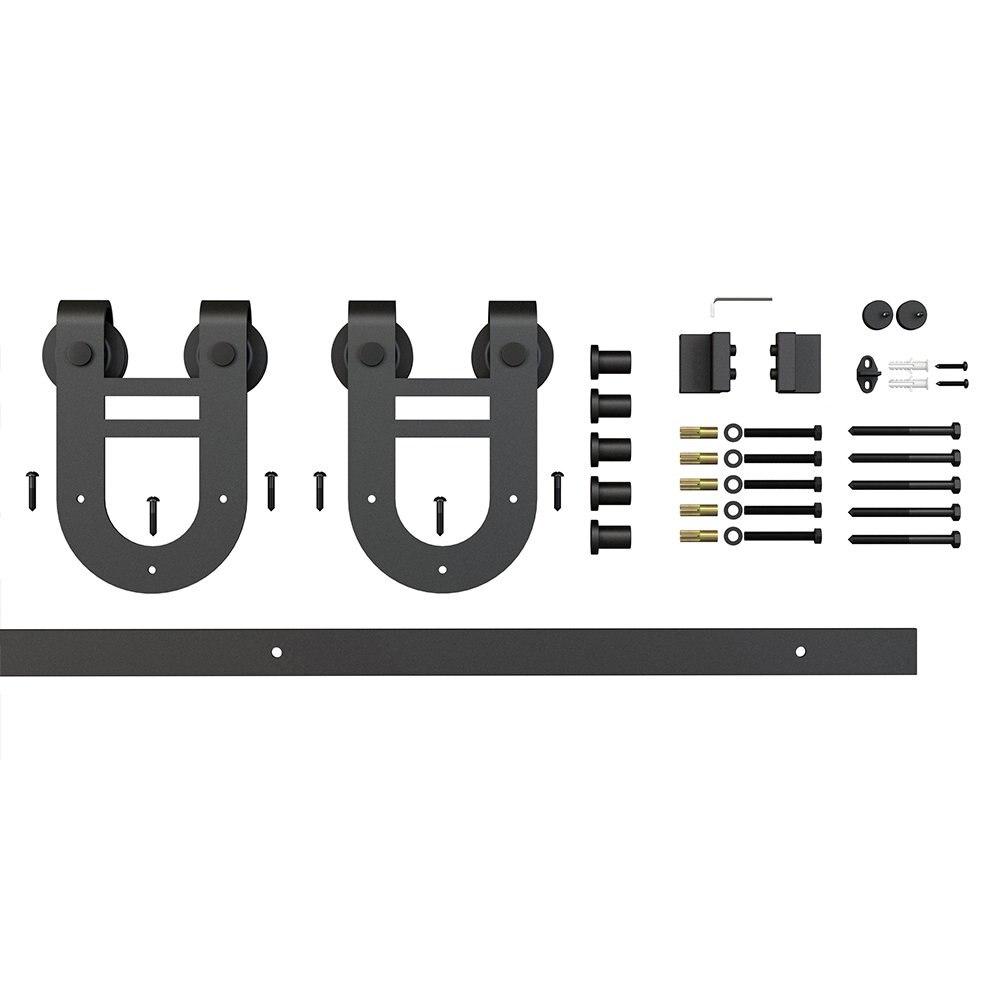 6.6ft 1 Rail Black Steel Sliding Barn Door Hardware Track Set,Horseshoe Hanger Roller