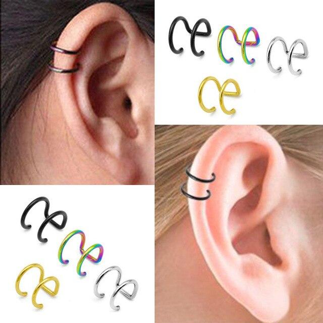 1 Piece Punk Man Women Stainless Steel Ear Clip Fake Earring Cuff Wrap Earrings No piercing.jpg 640x640 - 1 Piece Punk Man/Women Stainless Steel Ear Clip Fake Earring Cuff Wrap Earrings No piercing-Clip On Cartilage Wrap Jewelry