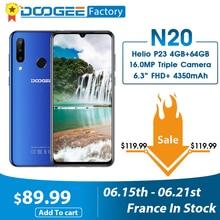 DOOGEE N20 16MP Triple Rear Camera Mobile phone Fingerprint 6.3 inch FHD+ Display 64GB 4GB MT6763 Octa Core 4350mAh smartphone