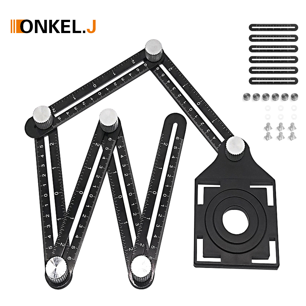 ONKEL.J 6-fold Aluminium Alloy Angle Finder Measuring Ruler Perforated Mold  Template Tool Izer Locator Drill Guide Tile Hole