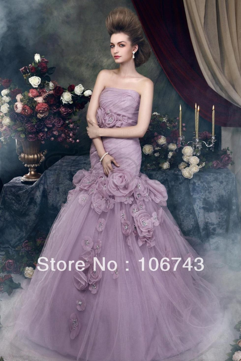 Free Shipping Brautkleid 2019 Victorian Purple Tulle Fishtail Bridal Gowns Real Mermaid Tail Handmade Bridesmaid Dresses
