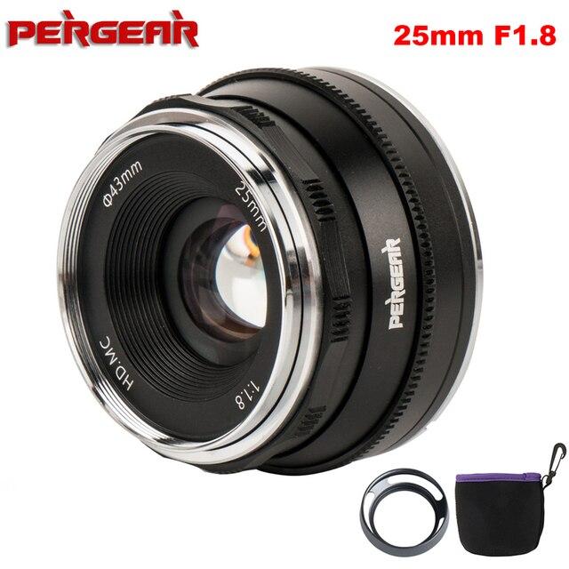 Pergear 25 millimetri f1.8 Prime Lens per Tutti I Singoli Series per Sony E Mount per Fuji Mount Micro 4/3 Della Macchina Fotografica a7 A7II A7R A6500 A6300 A6400