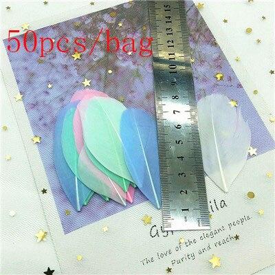 Натуральные гусиные перья 4-8 см, многоцветные белые перья, поделки своими руками, украшения для свадебной вечеринки, аксессуары, 50 шт - Цвет: warm color 10pcs