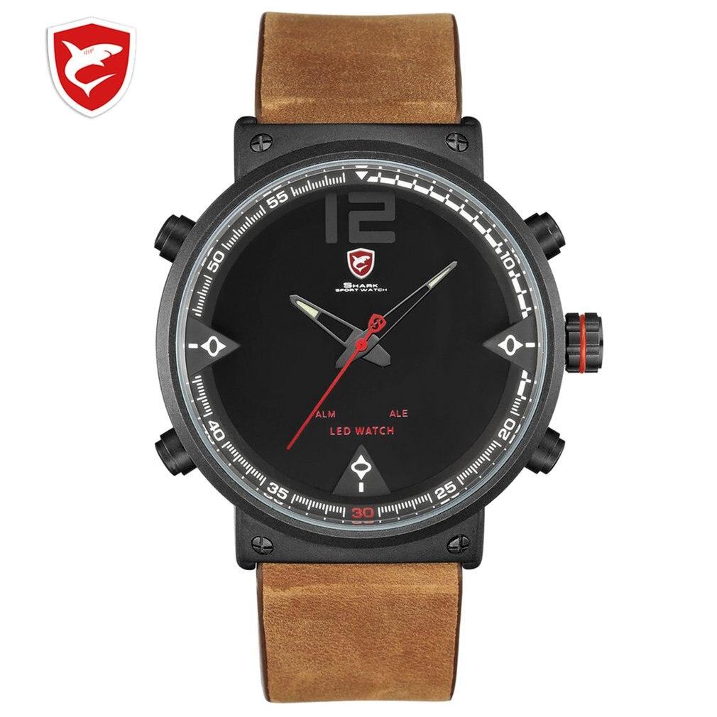 Bluegray Carpet Shark Men Sport Watch Top Brand Military Black Watches LED Digital Analog Quartz Wristwatch Relogio Clock 2020