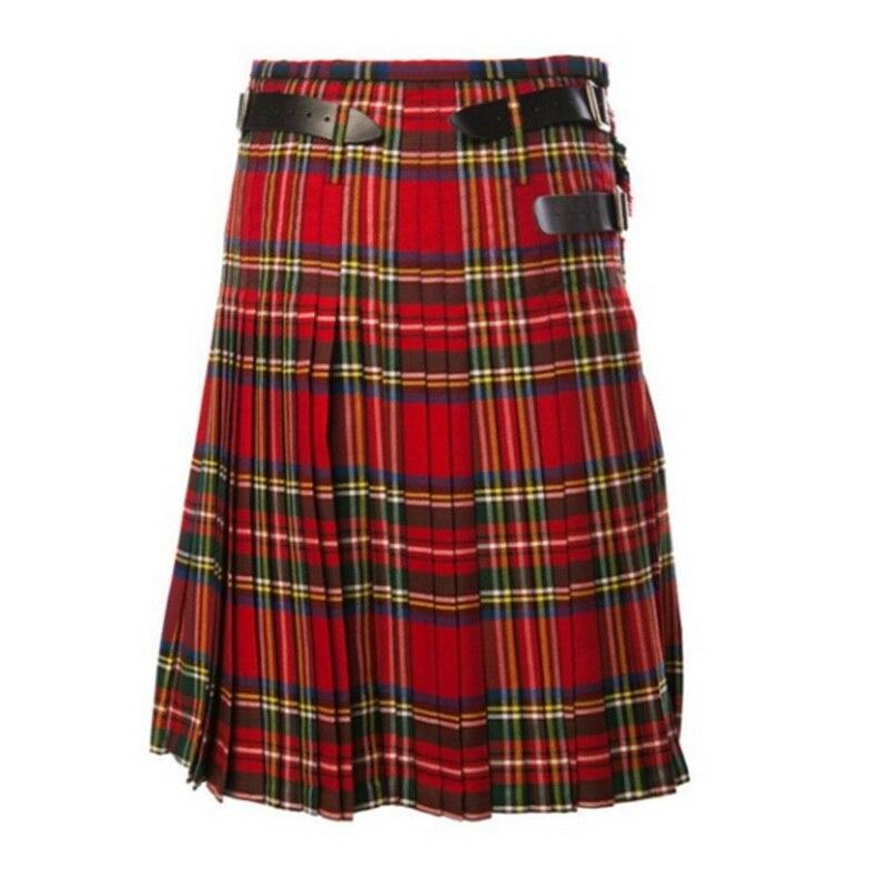 DIHOPE 2020 Men's Skirt Belt Plaid Pleated Skirt Bilateral Chain Skirt Brown Gothic Punk Scottish Skirt Scotland Tartan Trousers