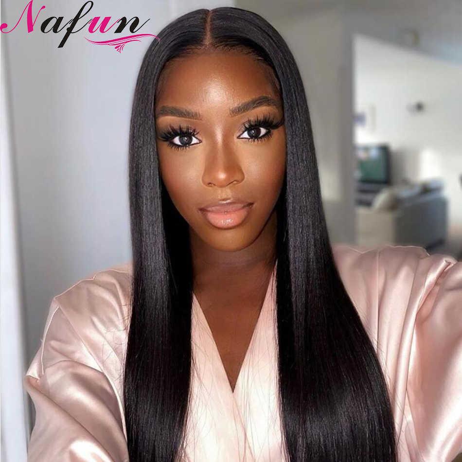 NAFUN 4X4 peluca con cierre de encaje, pelucas peruanas rectas de encaje, pelucas de cabello humano Remy para mujeres, pelucas transparentes con cierre de encaje pre-arrancadas
