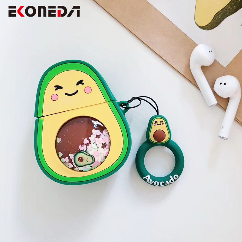 EKONEDA Liquid Glitter Protective Case For Airpods Strawberry Pineapple Avocado Silicone Cover For Airpods Case
