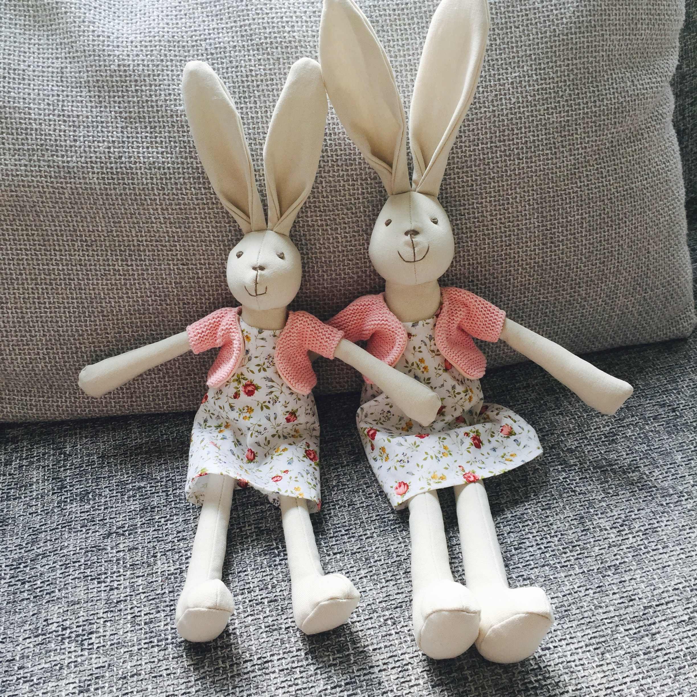 Luxus Rosa Kaninchen mädchen mit Kleid Weiche Spielzeug Hohe Qualität Baumwolle Tuch puppe Nette Handmade Stuffed Bunny Puppe Plüsch Spielzeug