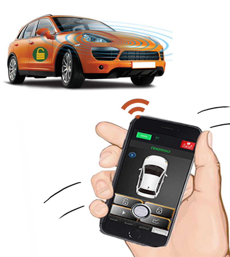 携帯電話リモート自動誘導制御車のボタンスタート盗難防止システムと振動盗難防止警報システム