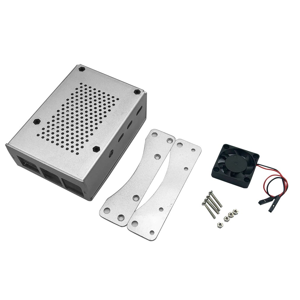 Buy For Raspberry Pi 4B Aluminum Case Silver Metal Shell Box With Fan Silver Enclosure for RPI 4 Model B RPI 4B Case for only 5.97 USD