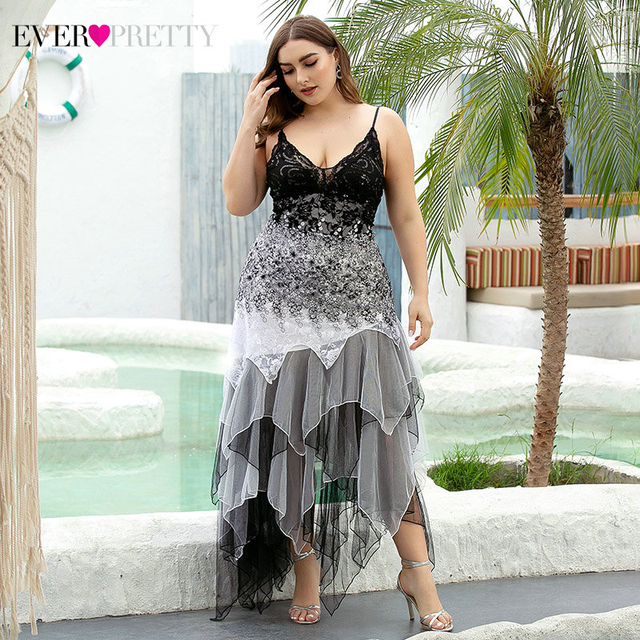 Plus Size Evening Dresses Asymmetrical Spaghetti Straps V-Neck Sequined Lace Formal Party Gowns Vestido 2020 3