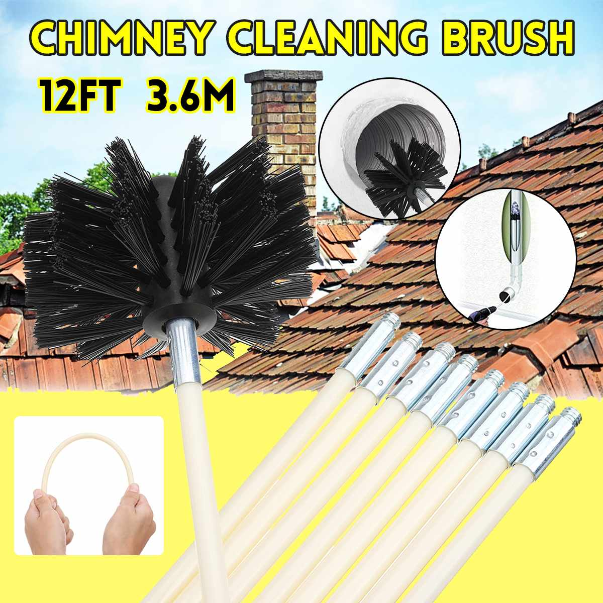 Chimney Cleaning Nylon Brush Long Handle Flexible Pipe Rod For Fireplace Kettle Household Sweeper Cleaner Home Cleaning Tool Set