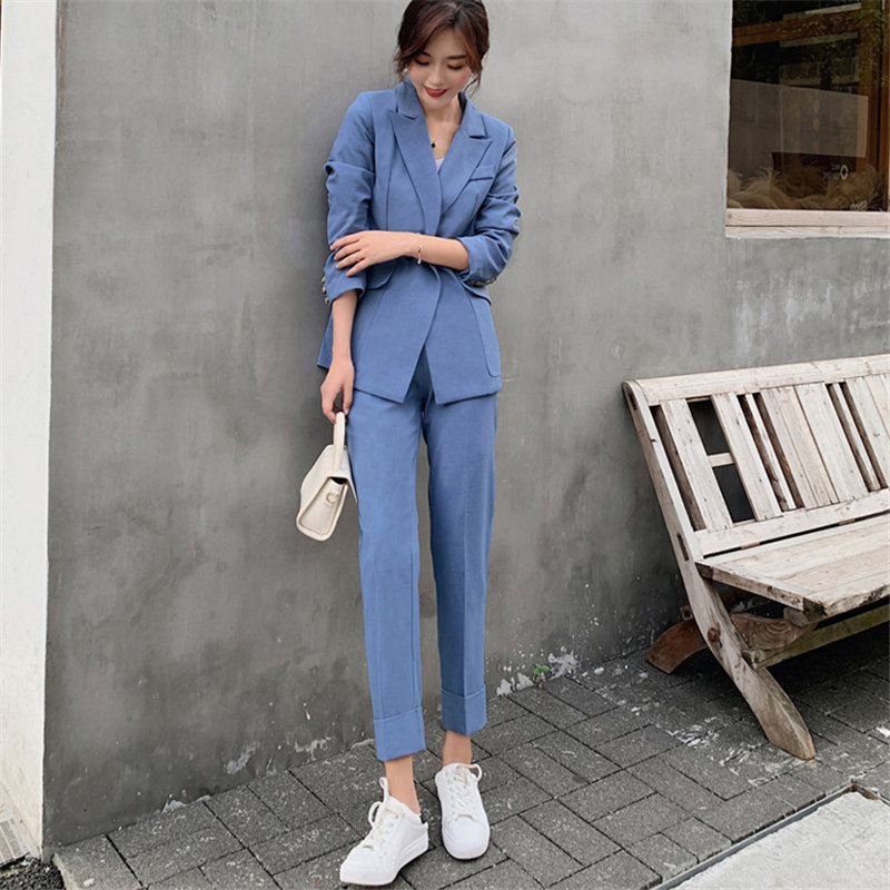 Alien Kitty Vintage 2020 Slender Women Office Lady Elegant Blazers+Feminine All Match Straight Slim Pants Suit Two Pieces Sets