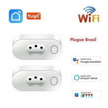 Brazil WIFI Socket Smart BR Plug Wireless Outlet Smart Life Tuya APP Timing 16A Energy Monitor For Alexa Google Home IFTTT