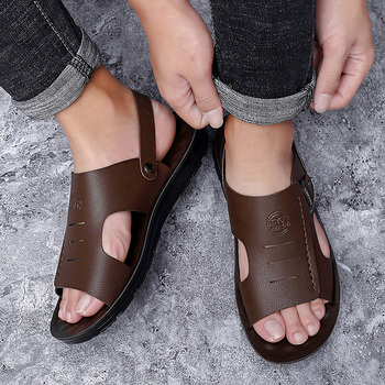 Men Sandals Summer Genuine Leather Fashion Outdoor Slippers Shoes Sneakers Roman Casual Beach Flip Flops *