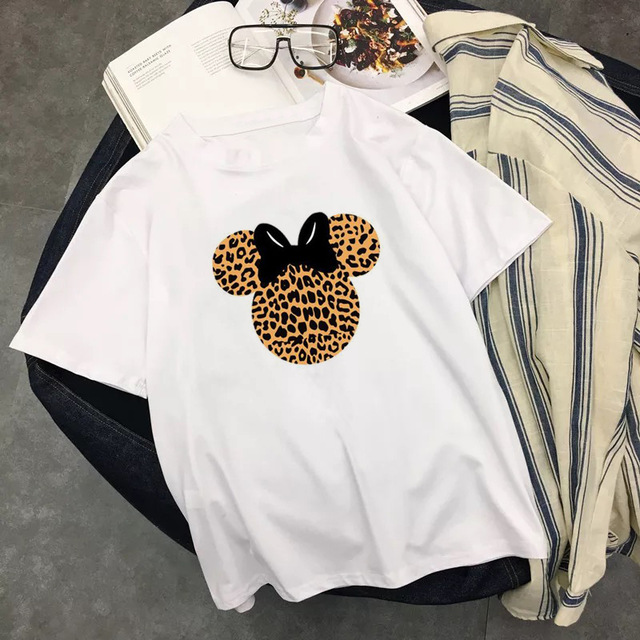 Cute Cartoon Leopard Print T-shirt Women 2019 Casual O-Neck Top Tees Fashion White Summer Short Sleeve Harajuku Woman Clothes