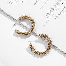 Di modo Geometrica del Cerchio C-a forma di Perline Orecchini A Pendaglio Per Le donne di Spessore Piccolo Oro Cerchi Dichiarazione Donna Bijoux 2020 nuovo