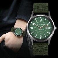 Outdoor Herren Uhren Wasserdicht Datum Edelstahl Militär Sport Uhr Analog Quarz Armee Armbanduhr Nylon Strap