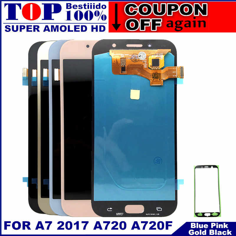 Super AMOLED Handys Display Für Samsung Galaxy A7 2017 A720 A720F A720M LCDs Touch Screen Digitizer Montage LCD Ersatz