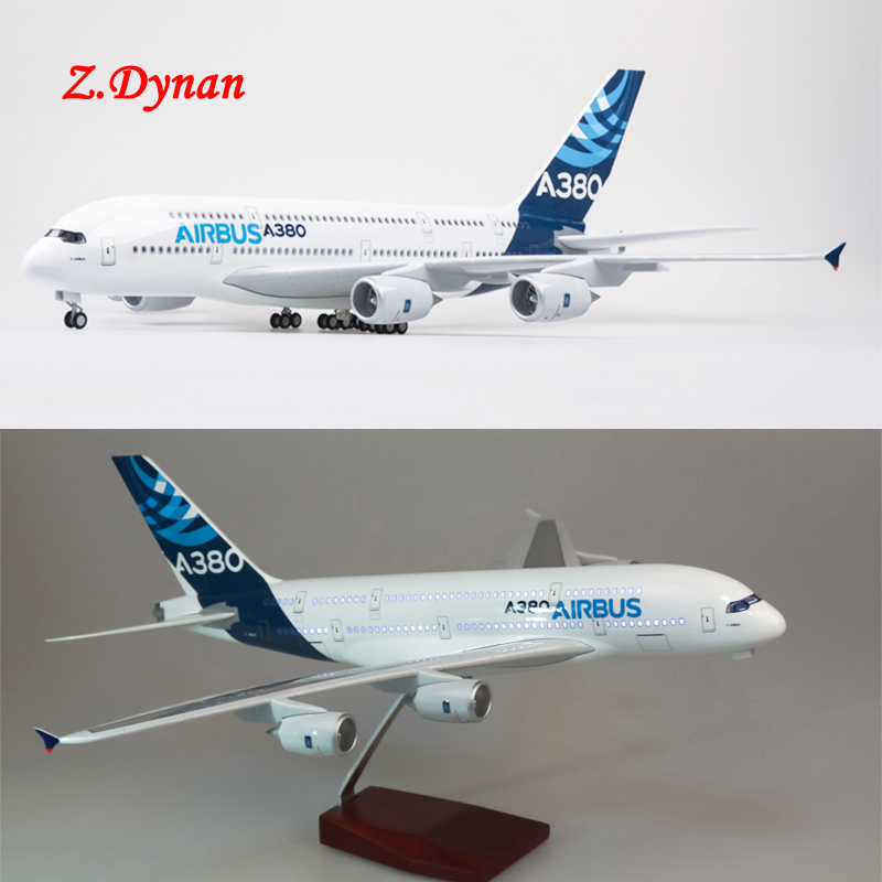 in stock 1/160 Scale Airplane Model Air bus A380 Prototype Airline Diecast with LED Light Children Collectible Plane Model Gift image