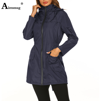 European and American Thin 2019 Spring Autumn Women Hooded waterproof windbreaker jacket Slim Wild Fashion Mountaineering Coats 2019 autumn new european and american women s personality stitching ruffled long sleeved round neck slim bag hip dress