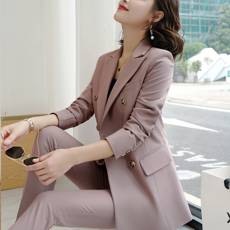 SUSIELADY Women Pant Suit Notched Blazer Jacket & Pant Double-Breasted Office Wear Women Suits Female Sets