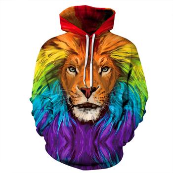 2019 New Hot moda 3D HD drukowanie lew jesień bluzy serii mężczyźni kobiety jesień i zima bluza bluzy z kapturem hip hopowe M-5XL tanie i dobre opinie Caadhy Pełne REGULAR QYXH-169 Na co dzień STANDARD NONE Brak W stylu rysunkowym Akrylowe POLIESTER spandex