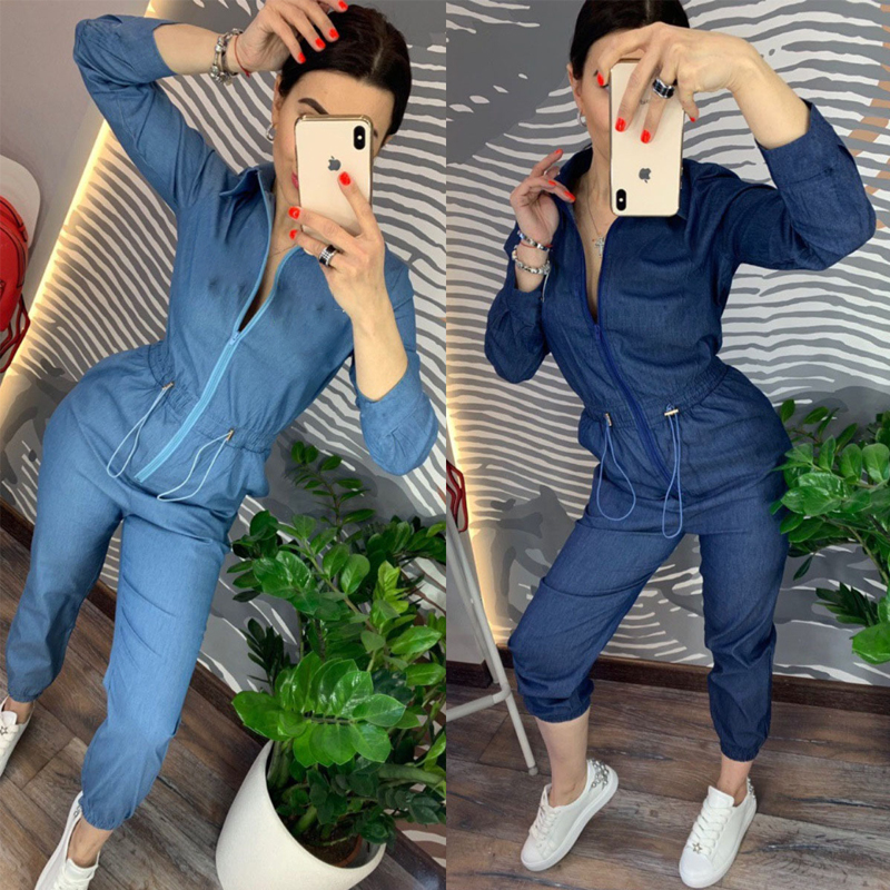 Denim Blue Rompers Women Casual Zipper Up Jumpsuit Long Pants 2019 Loose Letter Print Playsuit Plus Size Women Working Outfits