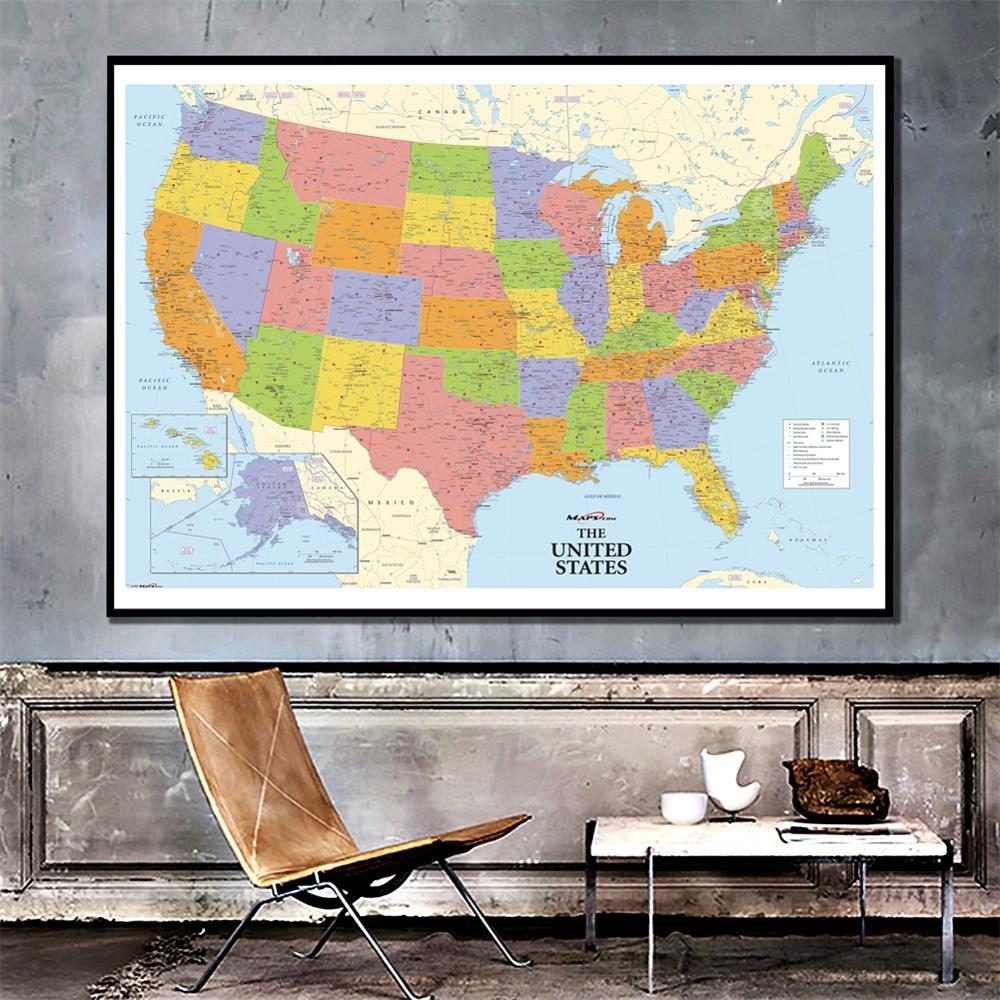 24x36 Inches Physical American Map HD National Map Of The United States For Home Living Room Wall Decoration