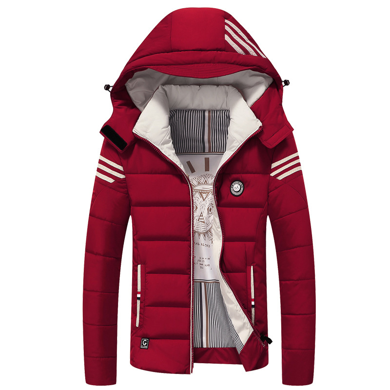 Plus Size 3XL-6XL Winter Jacket Burgundy Snow-outwear For Male With Hooded Warm Coat Cotton Jacket Full Sleeve Outwear