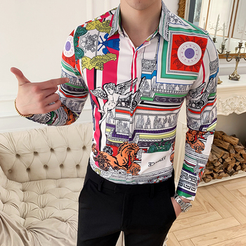 Large Size M-6XL 2019 New Mens Fashion Boutique Printed Casual Long-sleeved Shirt Design Dress Tuxedo Slim Fit Shirt Male 3