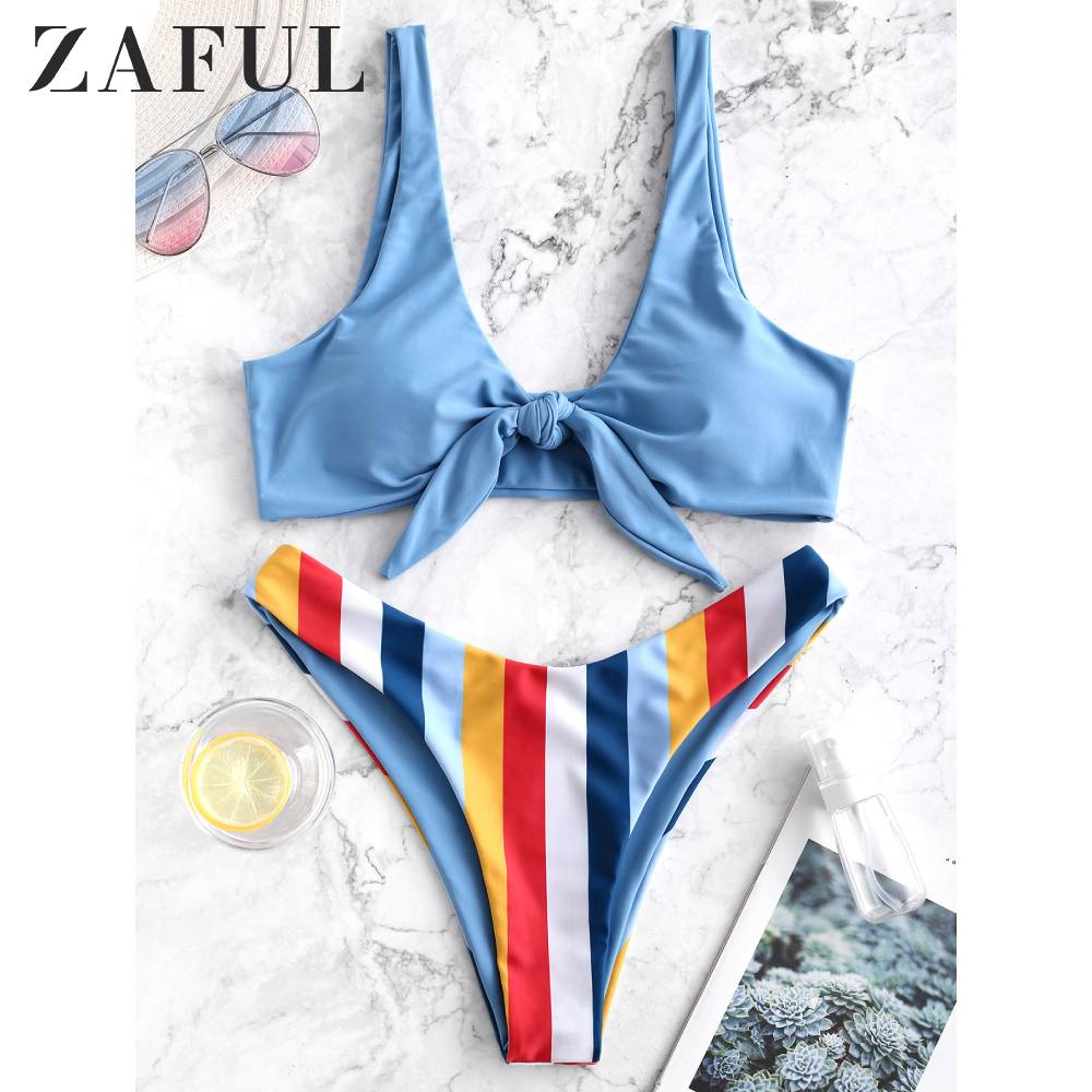 ZAFUL Women Multicolor Striped High Cut Bikini Swimsuit Wire Free Tied Padded Bikini Set Low Waisted Bathing Suit 2020 Fashion