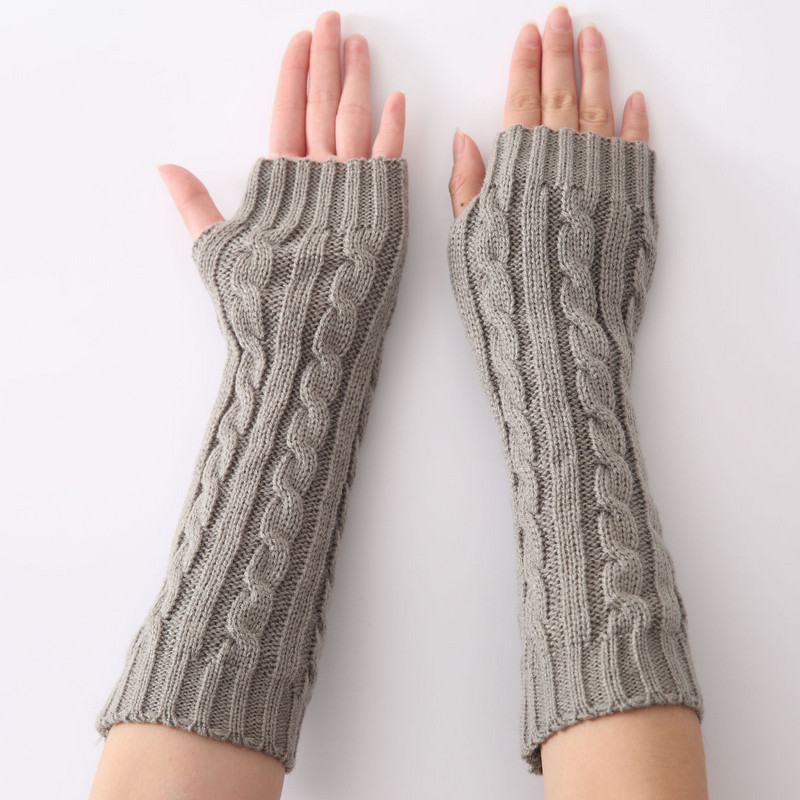 1 Pair 2019 New Autumn Winter Women Knit Gloves Arm Wrist Sleeve Warmer Girls Twist Weaving Rhombus Long Half Mittens Female