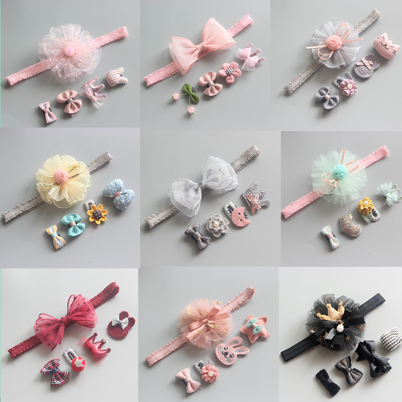 Children's head accessories Suit girl hair band headband children Crown hair clips set Children's holiday gift Hair accessories