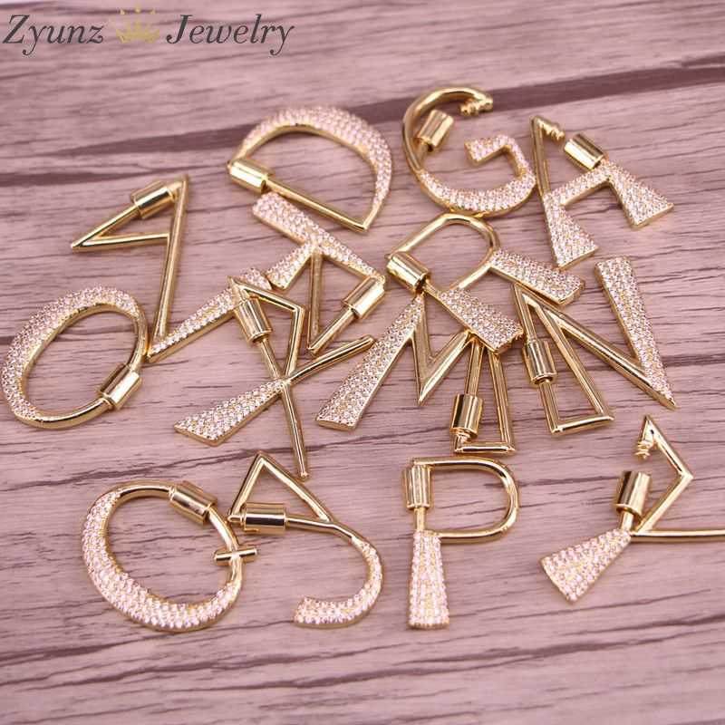 5pcs 18K Gold Plated Jewelry Small 26 Letter Charms For Jewelry Making