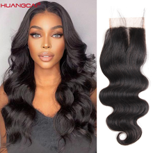 Lace Closure Human-Hair Body-Wave Transparent Middle-Part Natural-Color 4x4 Can-Be-Dyed