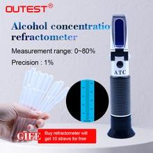 مقياس إنكسار خارجي مقياس كحول وكحول الكحول 0 ~ 80% فولت/فولت ATC أداة يدوية مقياس كحول للتركيز RZ122 فاحص للمشروبات الروحية