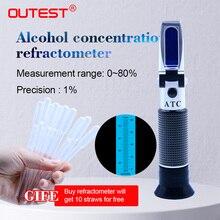 OUTEST Refractometer Alcohol Alcoholometer meter 0~80%V/V ATC Handheld Tool Hydrometer RZ122 concentration spirits tester wine