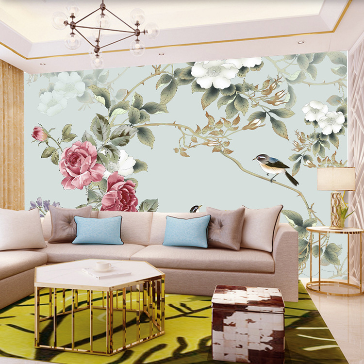 Large Mural Chinese Style Delicacy Fine Brushwork Flowers And Birds TV Wall Wallpaper Retro Wall Cloth Hand-Painted Wall Coverin