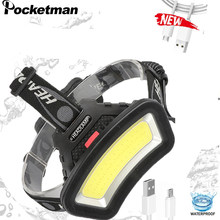 200m Long Lighting Distance 10000LM USB Rechargeable LED Headlamp Wide Angle COB Head Light Lantern Use 2*18650 For Hike Outdoor