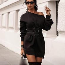 цена на Women Sashes Solid Off The Shoulder Sexy Dress Long Sleeve Sweatshirt Short Dress O-Neck 2019 Women Lace Up Party Dress