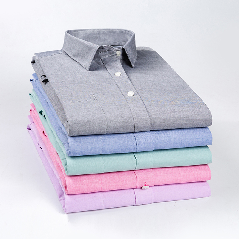 Men's Oxford 100% Cotton Long Sleeve Shirts New 2019 Autumn Men Shirt Slim Fit Solid Casual Regular Long Sleeve Men Dress Shirts