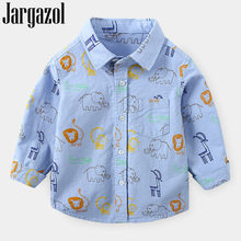 Jargazol Autumn Kids Clothes Cartoon Elephant Lion Printed Long Sleeve Shirt Toddler Boy Tops Fall Fashion Children Blouse(China)