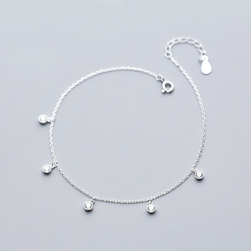 MloveAcc Brand New Real 925 Sterling Silver Minimalism Adjustable Chain Bracelets for Ankle Women Fine Jewelry Foot Anklets
