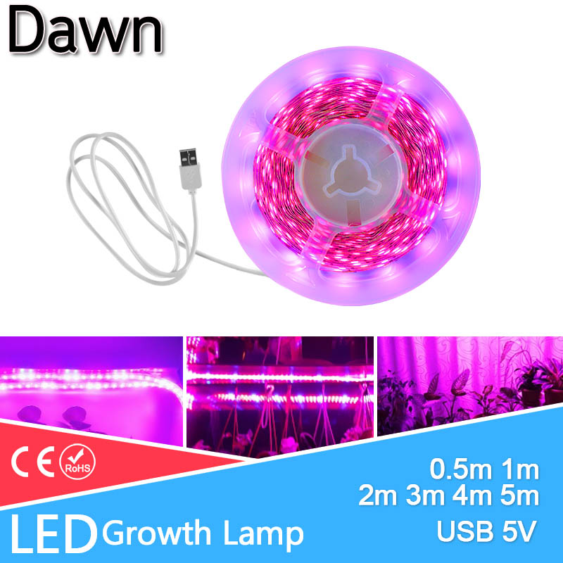 LED Grow Light LED Strip 1m 2m 3m 4m 5m Full Spectrum USB 5Chip SMD 2835 LED Phyto Lamp For Greenhouse Hydroponic Plant Growing