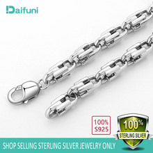 S925 Sterling Silver Dubai Boss 8mm Necklaces Hip Hop Miami Curb Cuban Chain Necklace Rapper Silver Chain Necklaces Men Jewelry(China)